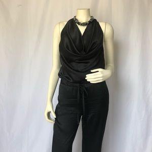 Black Halter Top Silk Woven Genie Leg Jumpsuit